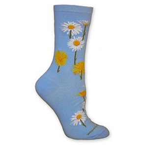 Daisies Light Blue Ultra Lightweight Cotton Crew Socks - Made in USA