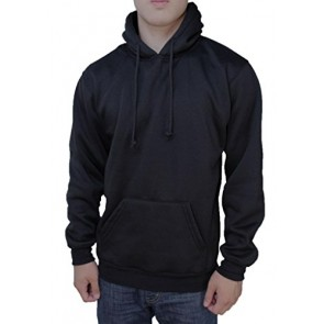 Calison Men's Cotton Long Sleeve Pull Over Fleece Hoodie Made in USA Small Black