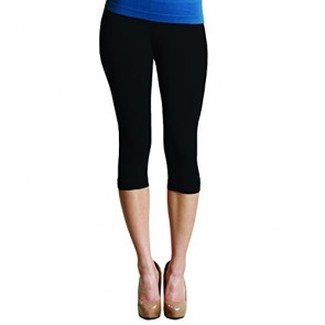 Nikibiki Women's Seamless Plain Jersey Knit Capri Leggings One Size 2-10 (Black)
