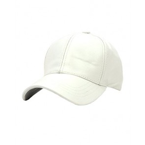 NYFASHION101 Unisex Adjustable Genuine Leather Baseball Cap Hat, Made in USA, White