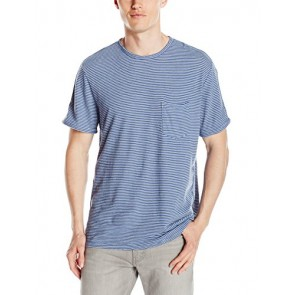 VELVET BY GRAHAM & SPENCER Men's Legend Striped Linen Cotton Crew Neck Tee Shirt, Arctic, Small