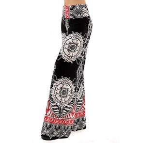 Uptown Apparel Womens Fold Over Waist Wide Leg Palazzo Pants (Black Red White Tribal, 1X)