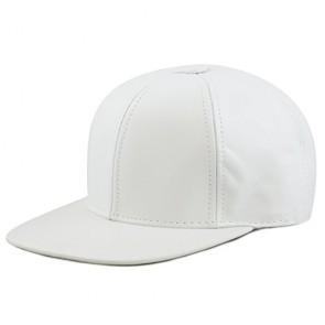 The Hat Depot Made In USA Premium Quality Cow Genuine Leather Velcro Closure Cap (White)