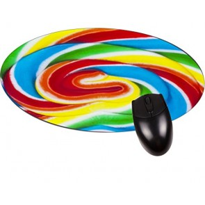 Colorful Lollypop Swirl- Round Mouse pad - Stylish, Durable Office Accessory Made in the USA