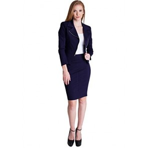 Woman Navy Blue Side Zipper Back Slit Blazer Pencil Skirt Set