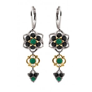 .925 Sterling Silver Flower Shaped Dangle Earrings by Lucia Costin Made with Green, Black Swarovski Crystals, 24K Yellow Gold over .925 Sterling Silver 4 Petal Flowers and Twisted Lines; Handmade in USA
