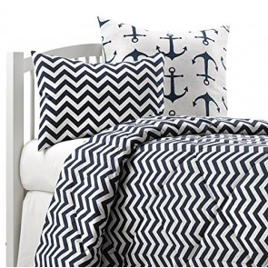 American Made Dorm & Home Comforter Set, Navy Chevron, Twin, X-Large