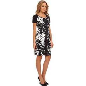 Marc New York by Andrew Marc Women's Elbow Sleeve Scoop Neck Sheath Dress MD4C8372 Black/White Dress 0