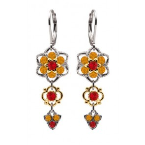 European Style .925 Sterling Silver Dangle Earrings Designed by Lucia Costin Made with Twisted Lines, Red, Yellow Swarovski Crystals and 24K Yellow Gold over .925 Sterling Silver Flower Elements; Handmade in USA