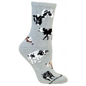 Cows All Over Gray Ultra Lightweight Cotton Crew Socks - Made in USA