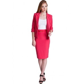 Ladies Fuchsia One Button Cuffed Blazer & Pencil Skirt With Belt Set