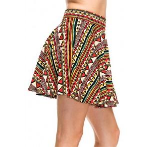 Simlu Women's Basic Flared Short Mini Skater Skirt Stretch Waist, Elastic Waistband