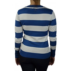 Alfa Global Women's Long Sleeve V-Neck Striped Ultra Soft Knit Sweater Top Blue-White S