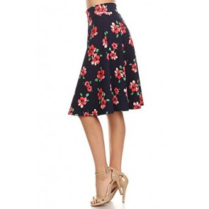 Women's Pretty Prints, A-line Knee Length Skirts. MADE IN USA (Small, FLO-BP2)
