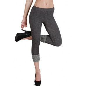 Nikibiki Capri Leggings With Contrast Bottoms NB6299 (One Size, Charcoal & Grey)-made in USA