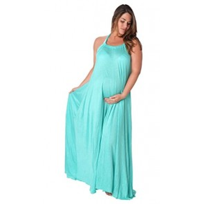 Ingear Maternity Tent Maxi Dress Aqua-Small/Medium
