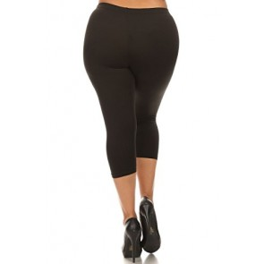 World of Leggings Made in the Usa PLUS SIZE Cotton Capri Leggings Black XL