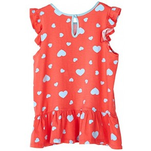 Big Girls Kids Fashion Coral Hears Ruffled Cap Tee Shirt Top USA GT40 2T