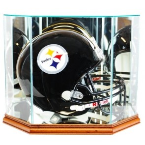 Full Size Football Helmet Display Case - Glass Top with Octagon Walnut Base - Made In America - Wit