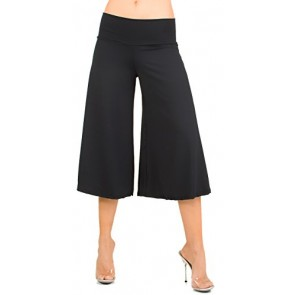 Flowy Soft Gaucho Pants Made in the USA 25 colors available - CAPRIS (5X-Large, Black)