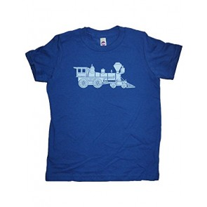 Boys Train Shirt 5-6 Blue by Sunshine Mountain Tees