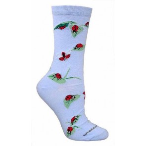 Ladybugs Light Blue Ultra Lightweight Cotton Crew Socks (One Size Fits Most) Made in USA