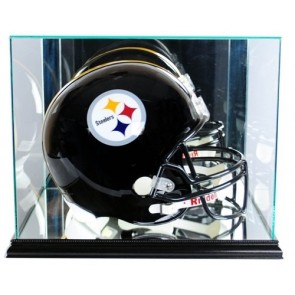 Full Size Football Helmet Display Case - Glass Top with Black Base - Made In America - With 50% UV