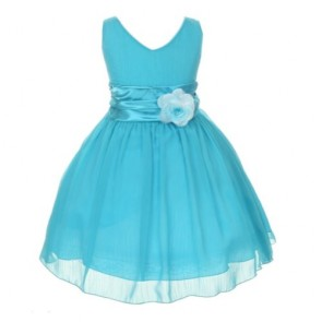 Chiffon Double V Neck Wedding Flower Girl Dress, Made in USA (14, turquoise)