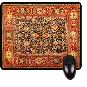 Antique Style Persian Sultanabad Rug Print Design- Burgundy/Black TM -Square Mouse pad - Stylish, Durable Office Accessory and Gift Made in the USA