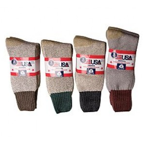 Assorted Color 3-Pk Men's Wool Blend Thermal Socks. Made in the USA.