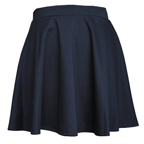 JC Womens Elastic Waist Mini Above Knee Flare Pleated Skirt Made in USA-Black,Small