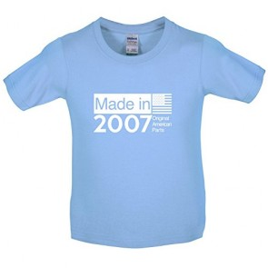 Made In 2007 USA Parts - Childrens / Kids T-Shirt - Light Blue - XL 12-13 Yrs