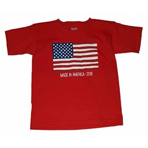 Boys American Flag Made In America 2016 Red Graphic T-Shirt - Large