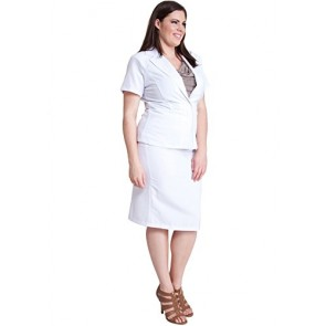 Ladies White Plus Size Short Sleeve 2 Button Blazer Zipper Back Pencil Skirt Set