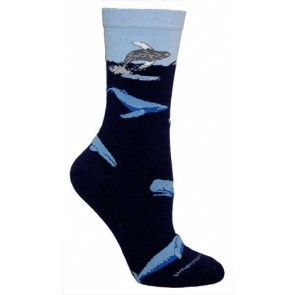 Blue Whales Navy Blue Ultra Lightweight Cotton Crew Socks (One Size Fits Most) Made in USA