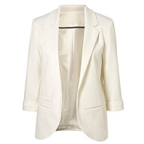 Open Front Blazer-Women Lapel Collar Roll-up Sleeve Business Suit Jacket Coat (XS, 03321white)