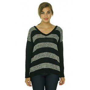 Kensie Women's V-Neck Long Sleeve Striped Sweater Black Combo XS