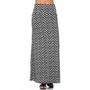 2LUV Women's Mix Print Knit Floor Length Maxi Skirt BlkWht-Chevron S