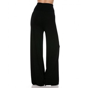Womens Comfy Chic Palazzo Lounge Pant (Small, Black)