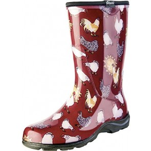 Sloggers Women's Rain and Garden Chicken Print Collection Garden Boots, Size 6, Barn Red