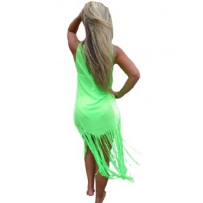 Ingear Long Fringe Maxi Dress (Small, Green)