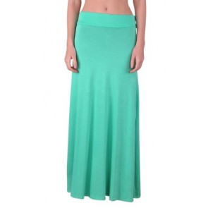 Free to Live Women's Foldover High Waisted Maxi Skirt (Small, Aqua)