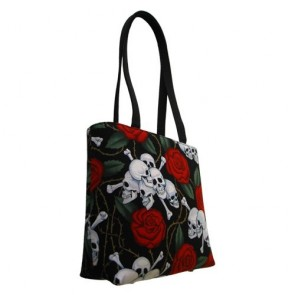 Roses and Skulls & Bones Small Tote Bag Handbag - 100% Hand Made in USA