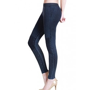 Nikibiki Thick Vintage Knee Shirring Legging NB6547 (Denim)