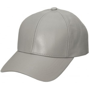 Grey Genuine Leather Baseball Cap Hat Made In The USA