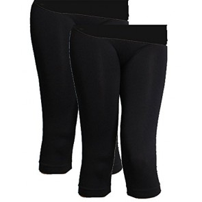 Niki Biki Women's 3/4 Smoothing Slimming Crop Leggings (One Size, 2 Pack: Black/Black)