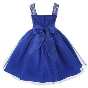 AkiDress Shiny Bling Studded Rainbow Rhinestone Flower Girl Dress for Little Girl Silver 14