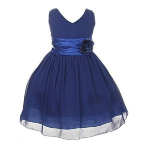 Chiffon Double V Neck Wedding Flower Girl Dress, Made in USA (14, royal blue)
