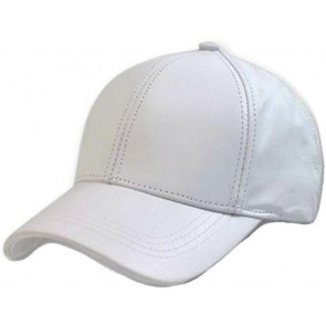 White Leather Adjustable Baseball Cap Hat Made in USA