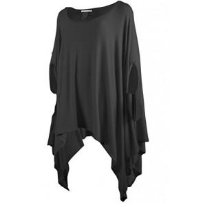 TL Women's Scoop Neck Short Sleeve Handkerchief Hem Flowy Long Rayon Tunic Tops (ONE SIZE, 057_BLACK)